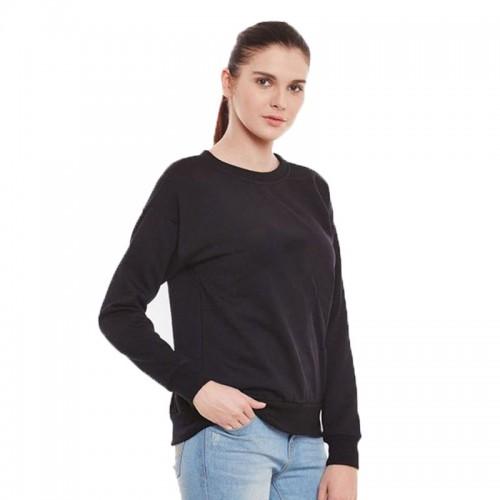 Plain Black Fleece Sweatshirt For Women's