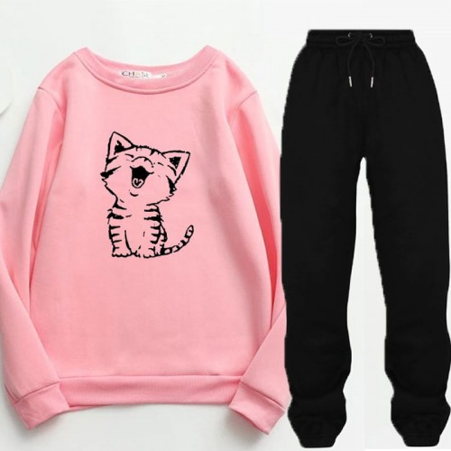 Meow Pink Winter Tracksuit For Ladies