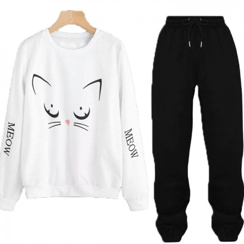 Meow White Winter Tracksuit For Ladies