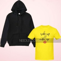 Wake up Yellow Printed T-Shirt with Zipper Hoodie